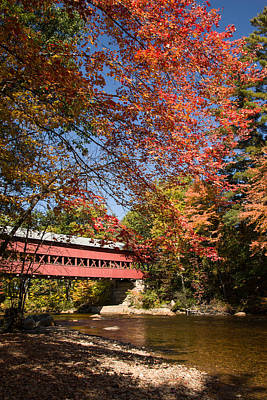 Covered Bridge Over The Swift River In Conway Print by Jeff Folger