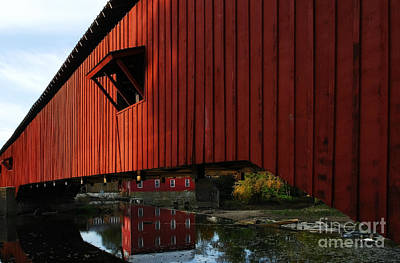 Covered Bridge Reflections Print by Mel Steinhauer