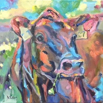 Cow And Clover Original by Donna Tuten