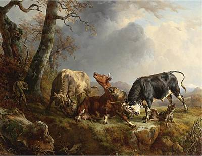 Raymond Painting - Cow Attacked By Wolves by Jacques Raymond