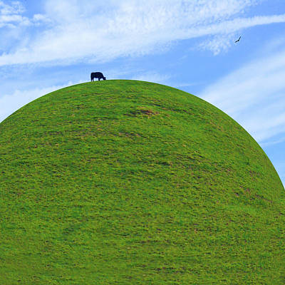 Cow Eating On Round Top Hill Print by Mike McGlothlen