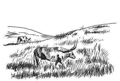 Pasture Scenes Drawing - Country Morning by Masha Batkova
