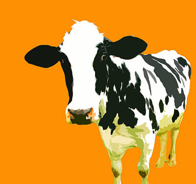 Pop Painting - Cow In Orange World by Peter Oconor