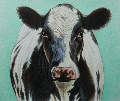 Eye Lashes Drawing - Cow by Lucy Deane