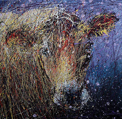 Splashy Art Painting - Cow by Michael Glass