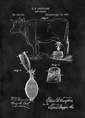 Cow Mixed Media - Cow Milker Patent by Dan Sproul
