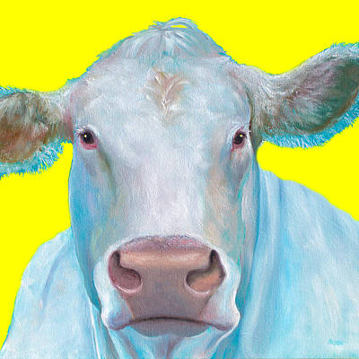 Cow Painting - Charolais Cattle Print by Jan Matson