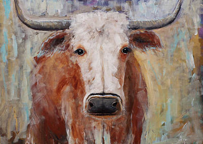 Asheville Artist Painting - Cow Painting Longhorn Steer Country Farm House Art by Gray Artus