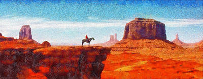 Mountain Digital Art - Cowboy At Monument Valley In Utah - Da by Leonardo Digenio
