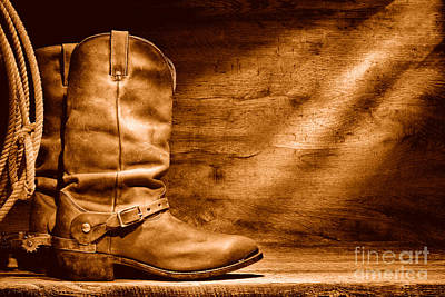 Cowboy Boots On Wood Floor - Sepia Print by Olivier Le Queinec