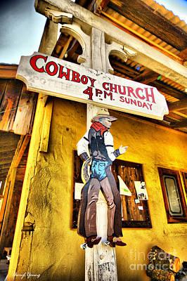 Cowboy Church Print by Cheryl Young