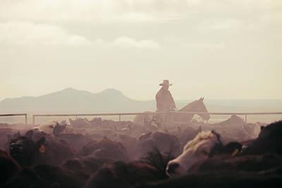 Cowboy Dawn Print by Todd Klassy
