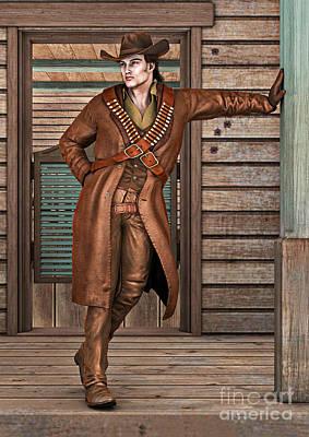 Digital Art - Cowboy by Design Windmill
