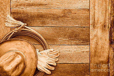 Barn Boards Photograph - Cowboy Gear On The Floor - Sepia by Olivier Le Queinec