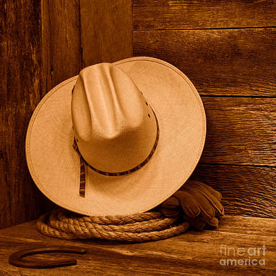 Cowboy Hat And Gear - Sepia Print by Olivier Le Queinec