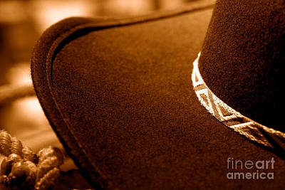 Cowboy Hat Detail - Sepia Print by Olivier Le Queinec