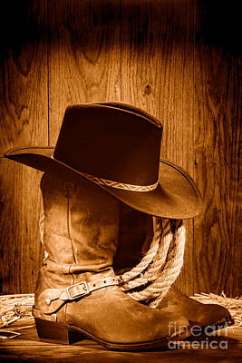 Old Western Photograph - Cowboy Hat On Boots - Sepia by Olivier Le Queinec