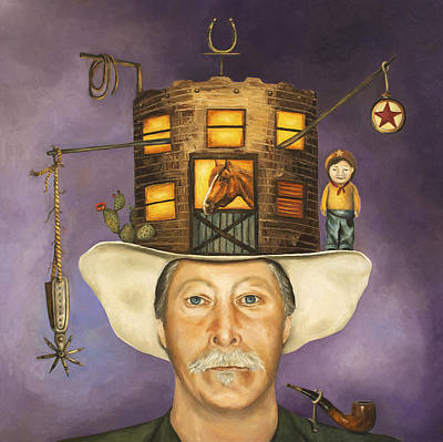 Cowboy Hat Painting - Cowboy Karl by Leah Saulnier The Painting Maniac