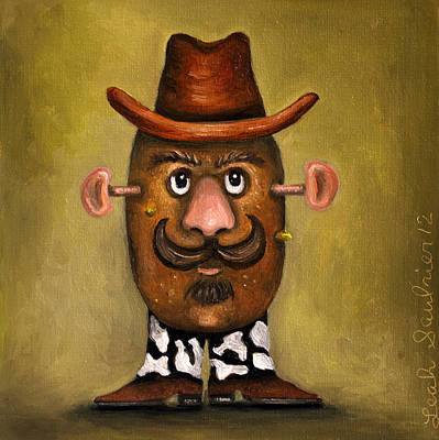 Potato Painting - Cowboy Potato Head by Leah Saulnier The Painting Maniac