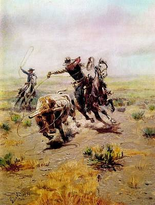 Cowboy Roping A Steer Print by Charles Russell