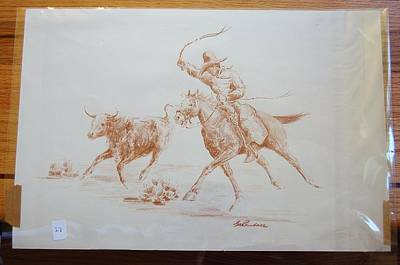 Cowboy Roping A Steer Print by Smart Healthy Life