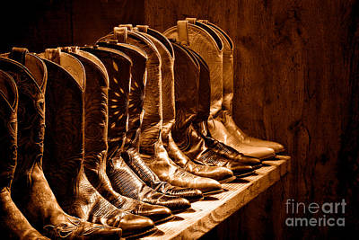Cowgirl Photograph - Cowgirl Boots Collection -sepia by Olivier Le Queinec