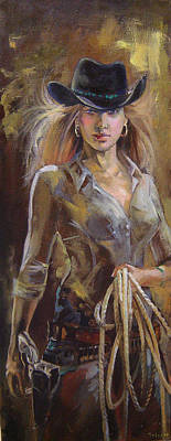 Dance Ballet Roses Painting - Cowgirl by Nelya Shenklyarska