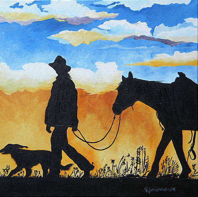 Cowgirl Sunset Print by Patti Schermerhorn