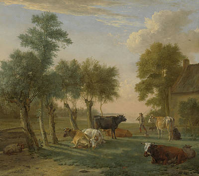 Cows In A Meadow Near A Farm Print by Paulus Potter