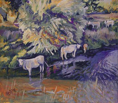 Cows In The Geul Print by Nop Briex