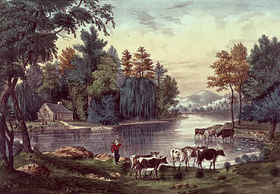 Cows On The Shore Of A Lake Print by Currier and Ives