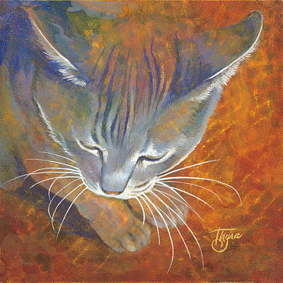 Gray Tabby Painting - Coy Cat by Thyra Moore