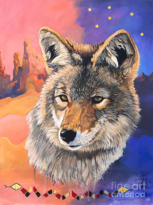 Coyote The Trickster Print by J W Baker