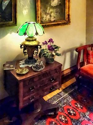 Cozy Parlor With Flower Petal Lamp Print by Susan Savad
