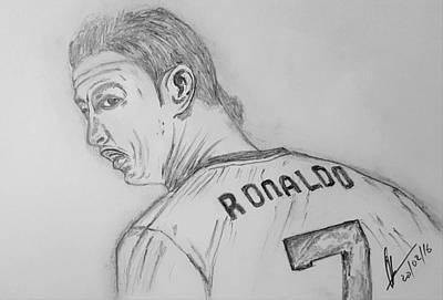 Cristiano Ronaldo Drawing - Cr 7 by Collin A Clarke