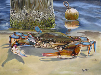New Orleans Oil Painting - Crab On The Shoreline by Phyllis Beiser