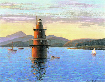 Historic Schooner Painting - Crabtree Ledge Light by Paul Breeden