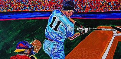 Crack Of The Bat - Abstract Baseball Series Original by Nicholas Vitale