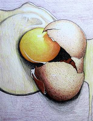 Culinary Drawing - Cracked Egg by Mary Ellen Frazee