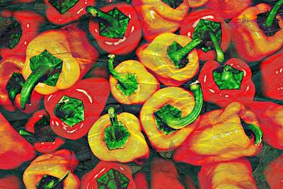 Pepper Mixed Media - Crackled Peppers by Cathie Tyler