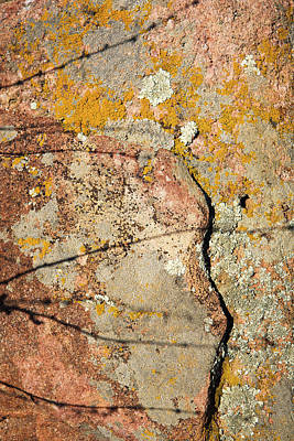 Colorado Photograph - Cracks Shadows And Lichen by Marilyn Hunt