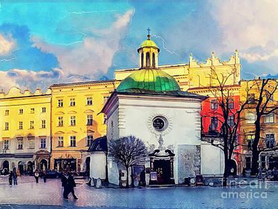 Krakow Painting - Cracow Church Of St. Wojciech by Justyna JBJart