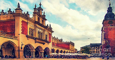 Watercolor Painting - Cracow Main Square Old Town by Justyna JBJart