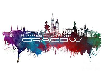 Krakow Digital Art - Cracow Skyline City Blue by Justyna JBJart