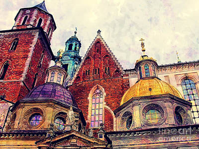 Cracow Painting - Cracow Wawel Watercolor by Justyna JBJart