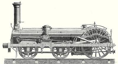 Crampton Locomotive Print by English School