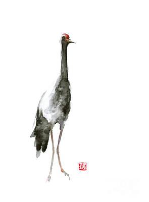 Crane Mixed Media - Crane Art Print Watercolor Painting by Joanna Szmerdt