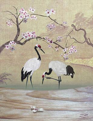 Crane Digital Art - Cranes Under Cherry Tree by Matthew Schwartz