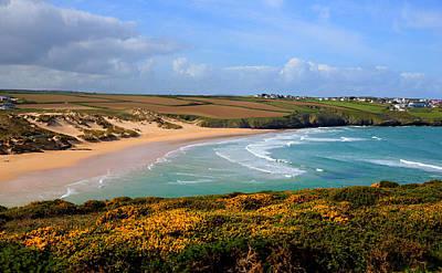 Crantock Beach And Yellow Gorse North Cornwall England Uk Print by Michael Charles