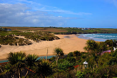 Crantock Beach North Cornwall England Uk Near Newquay With Palm Trees And Blue Sky Print by Michael Charles